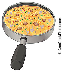 A pan with a pizza