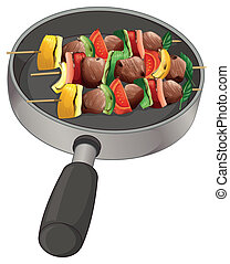 A pan with foods on stick
