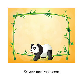 A panda and the empty green frame - Illustration of a panda...
