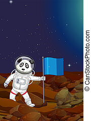 A panda astronaut in the space