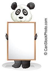 A panda holding an empty board