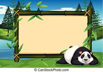 A panda on bamboo frame