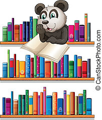 A panda reading above the wooden shelf with books