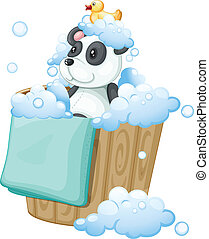 A panda toy and a rubber duck inside a pail - Illustration...