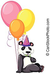 A panda with balloons