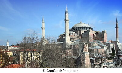 a panning timelapse of the hagia sofia church in istanbul,...