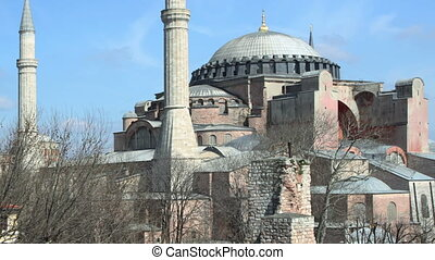 a panning timelapse of the hagia sofia church in istanbul, turkey