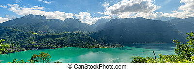 panorama of Annecy lake in french Alps - a panorama of...