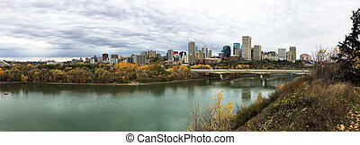 Panorama of Edmonton, Alberta, Canada with colorful aspen in autumn