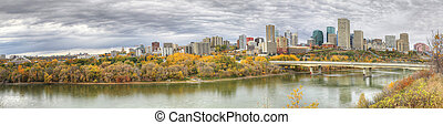 Panorama of Edmonton, Alberta, Canada with colorful aspen in fall
