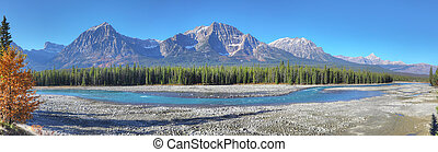 Panorama of Rocky Mountains with Athabasca River - A...