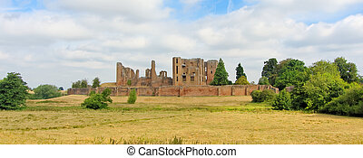 A panorama of the Kenilworth castle standing on a low hill, which was located in the heart of a 1,600 hectare park and is surrounded by a large artificial lake.