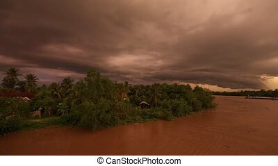 A panorama of the Mekong Delta during a ferocious summer thunderstorm in Vietnam