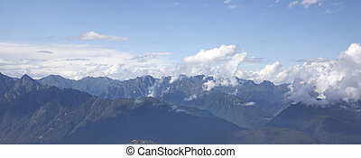 a panorama of the mountains in the summer