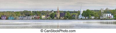 A Panorama of the three churches of Mahone Bay, Nova Scotia