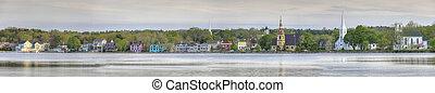 A Panorama of the town of Mahone Bay, Nova Scotia