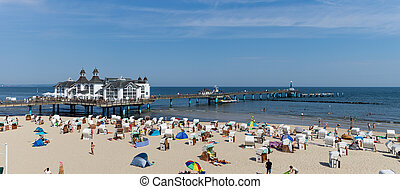 panorama view of Sellin pier on the Baltic Sea in Germany