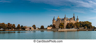 panorama view of the castle of Schwerin in Mecklenburg-...
