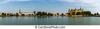 panorama view of the city of Schwerin in Mecklenburg-...
