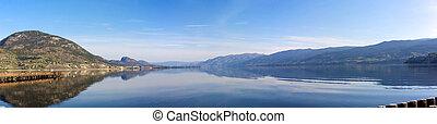 A panoramic photograph of Lake Okanagan in British Columbia Canada
