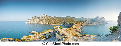 A panoramic view from Cape Kapchik. Crimea.