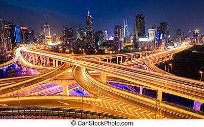 panoramic view of city interchange overpass