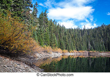 A panoramic view of mirror lake on a sunny autumn day with colorful fall