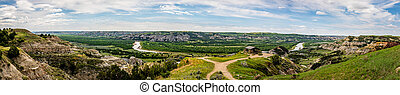 A panoramic view of River Bend Overlook at the North Unit of Theodore Roosevelt National Park in North Dakota.