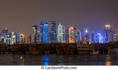 A panoramic view of the old dhow harbour night timelapse in...