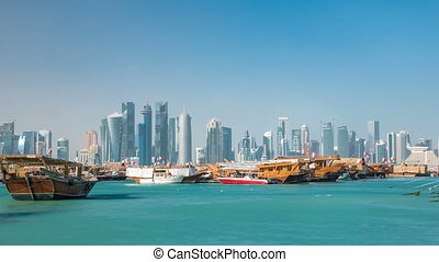 A panoramic view of the old dhow harbour timelapse in Doha,...