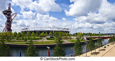 Queen Elizabeth Olympic Park in London - A panoramic view of...