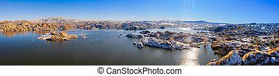 A panoramic winter image of Watson Lake in Prescott Arizona ...