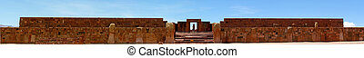 a, panoramische ansicht, von, der, tempel, in, tiwanaku, bolivien