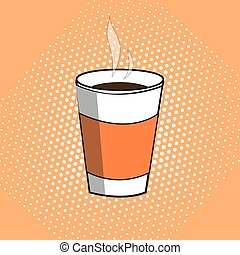 A paper glass with hot coffee. Pop art illustration.