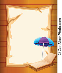 A paper with a beach umbrella and a wooden bench