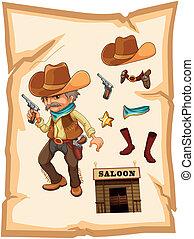 A paper with a cowboy holding a gun