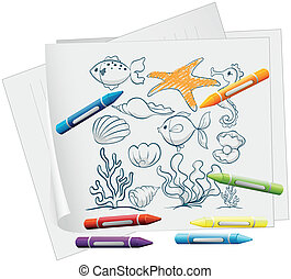 A paper with a doodle design of the different sea creatures...