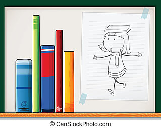 A paper with a drawing of a girl beside the books at the shelf