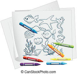 A paper with a drawing of the different sea creatures -...