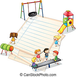 Illustration of a paper with a park with many kids on a white background