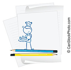 A paper with a sketch of a chef