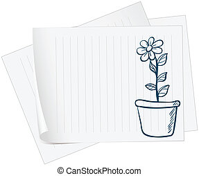 A paper with a sketch of a plant in a pot