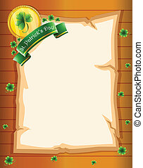 A paper with a St. Patrick's Day greeting - Illustration of...