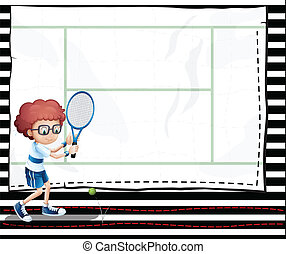 A paper with an image of a boy playing tennis