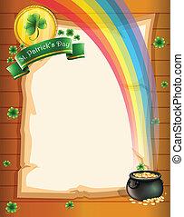 A paper with St. Patrick's symbols
