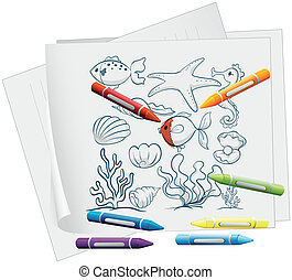 A paper with the different sea creatures and crayons -...