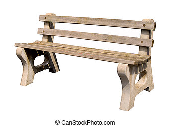 A park bench, isolated on a white background.