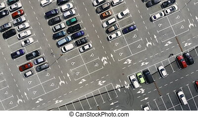 A parking from above - Panorama of a car park, view from...