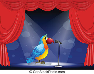 Illustration of a parrot at the center of the stage