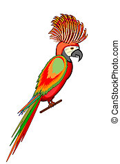 A parrot macaw isolated on a white background. Vector-art...
